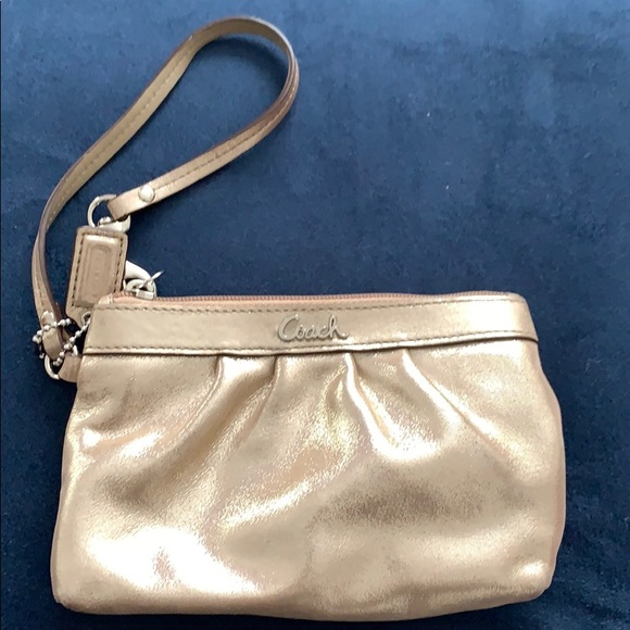 Coach Handbags - Coach Champagne Metallic Wristlet